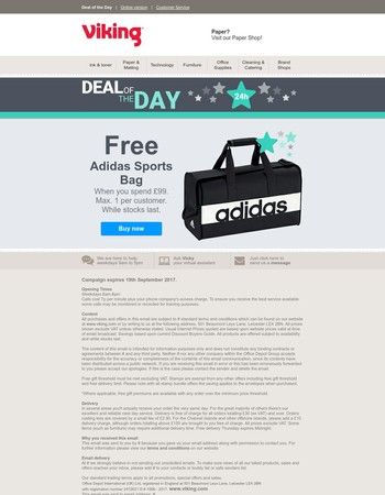 Deal of the Day: Free Adidas Sports Bag with your order