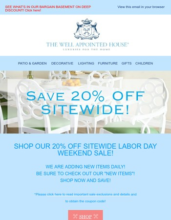 20% OFF SITEWIDE LABOR DAY SALE NOW ON!