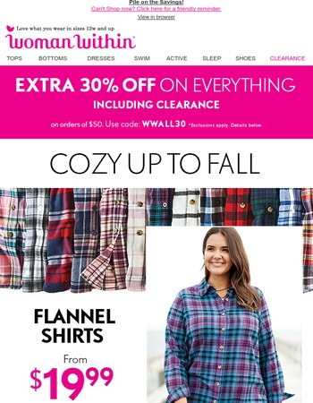 Cozy Up to Fall Sale: Extra 30% Off
