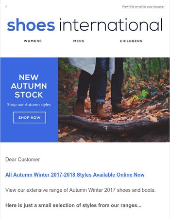 Autumn/Winter Stock Available Now at Shoes International