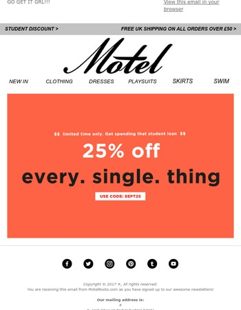 OMG! 25% OFF EVERYTHING! TODAY ONLY.