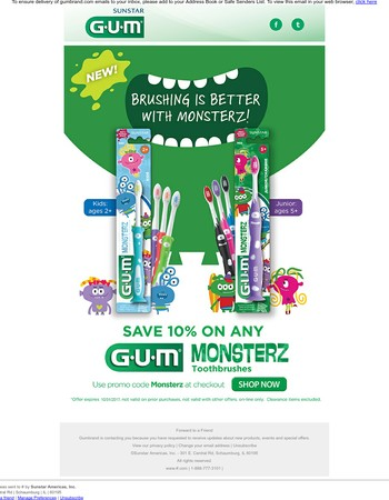 Make Morning Brushing Fun with Monsterz' Kids' Toothbrushes - New From GUM!