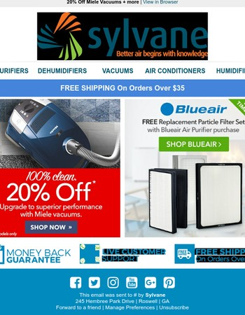 Don't miss out! - 20% off Miele Vacuums + more