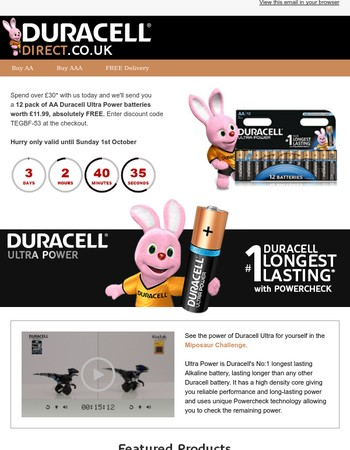 Get your free pack of 12 Ultra Power, Duracell's longest lasting battery