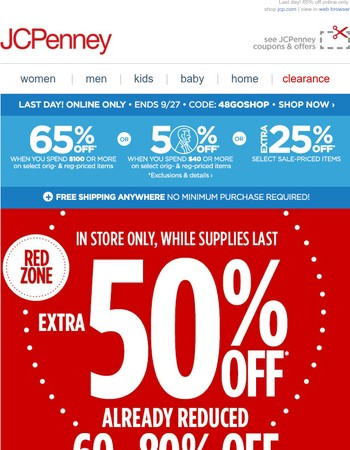 Extra 50% off CLEARANCE already 60-80% off, in store only!