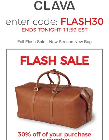 Fall Flash Sale - Ready, Set, Shop with 30% off until midnight!