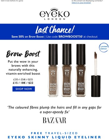 Last Chance! Shop Brow Boost & Save 50%