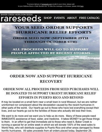 URGENT! ORDER SEEDS NOW, All proceeds support hurricane relief efforts.