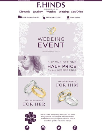 Buy one get one half price - All Wedding rings