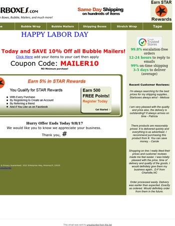 Labor Day Sale! StarBoxes.com