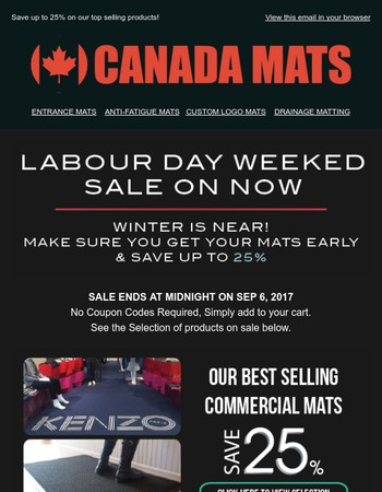 ⚡ Get ready for winter & Save up to 25% on all kinds of mats this weekend⚡
