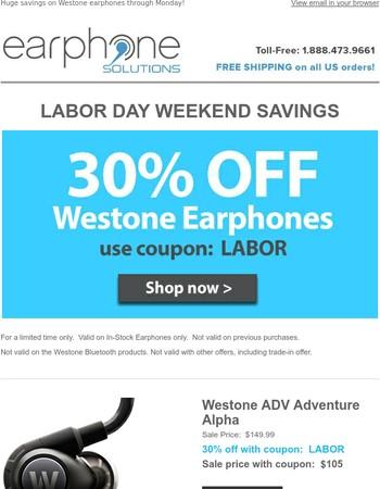 30% off Westone Earphones