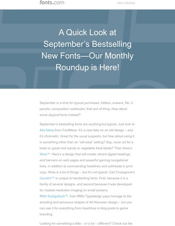 See What's Climbing Our Font Charts - September's New Best Sellers Roundup is Here!