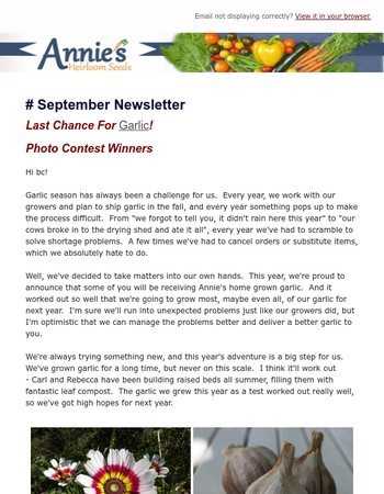 Annie's Heirloom Seeds September Newsletter - Last Chance For Garlic!