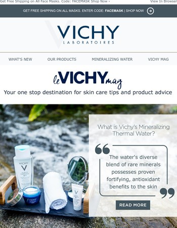 Do You Know the Story Behind Vichy's Mineralizing Thermal Water? PLUS Free Shipping on Face Masks!
