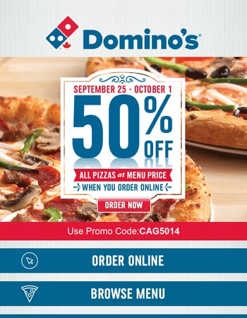 This pizza deal is about to end! Order 50% off menu-priced pizza online