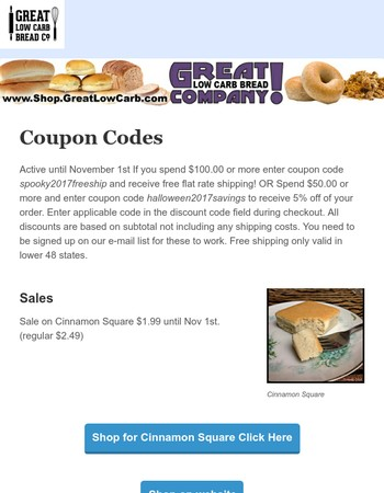 Great Low Carb October coupon codes and sales