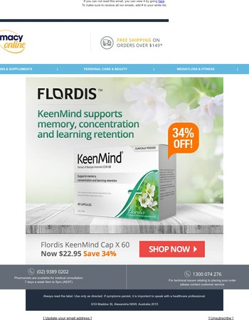 34% Off Flordis KeenMind - Support your memory & concentration