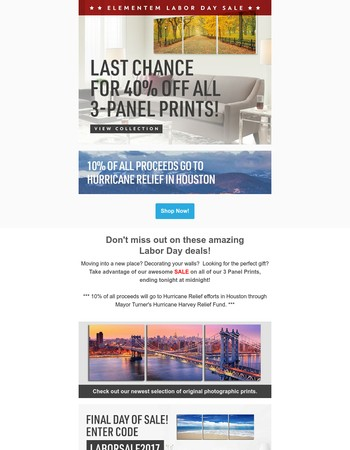 Last Chance: 40% Off All 3-Panel Elementem Photography Prints!