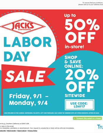Up To 50% Off - Labor Day Sale Ends Today!