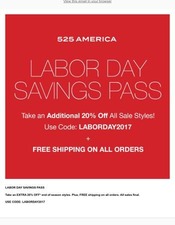 Labor Day Savings Pass