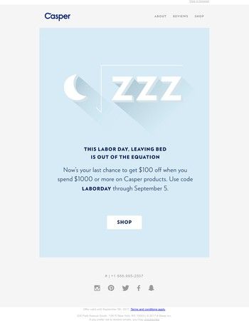 (Great sleep) - ($100) = Labor Day