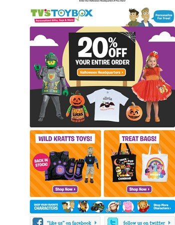 Spooky Deal! 20% Off Halloween Costumes, Treat Bags & More!