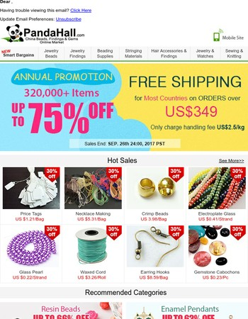 320,000+ Items Up To 75% off + Free Shipping for ANNUAL PROMOTION
