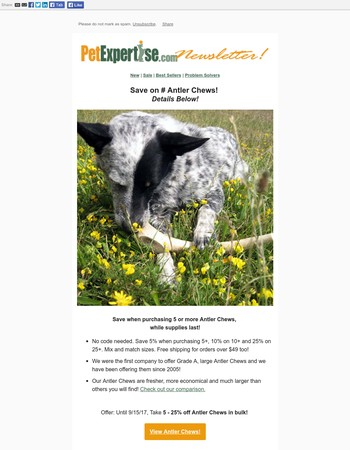 Bulk Antler Chew Sale While They Last! - Pet Expertise Sept Newsletter