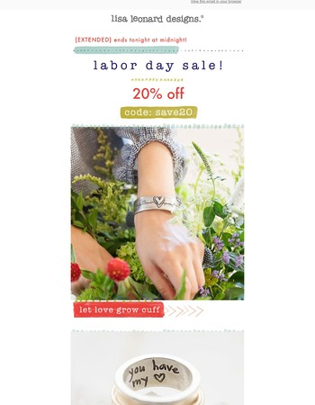 {extended} labor day sale! 20% off!