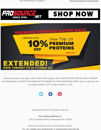 We've Extended our Protein Sale! Only a Few Hours Left to Stock Up!