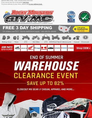 End of Summer Warehouse Clearance Sale