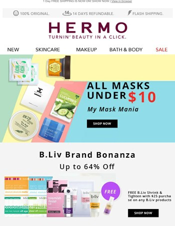 Last Day | All Masks Under $10 and B.Liv Free Gift