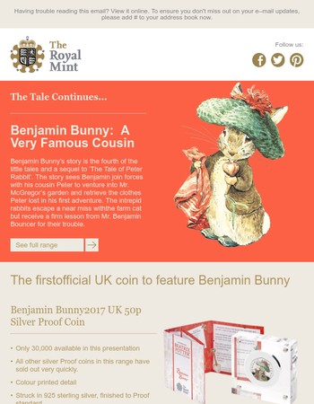 Benjamin Bunny Colour Printed 50p