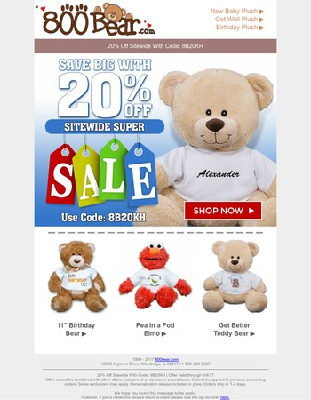 20% Off Super Sitewide Sale