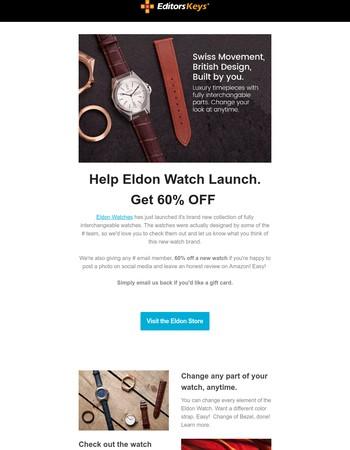 Editors Keys Partner Deal - Eldon Watches