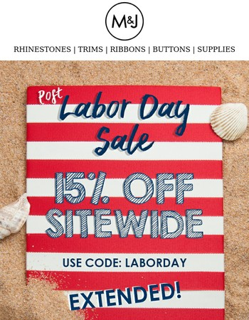One More Day. 15% Off Sitewide