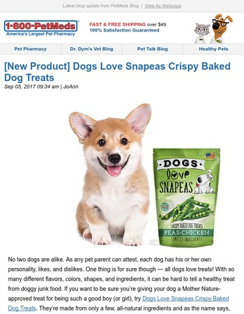 [New Product] Dogs Love Snapeas Crispy Baked Dog Treats