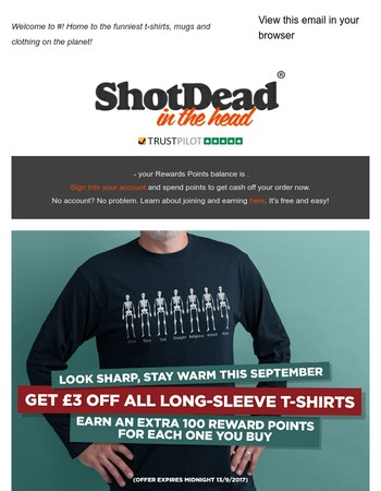 Look sharp, stay warm in September. All long sleeve tees reduced to just £16.99!