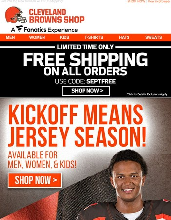 Jersey Up for Browns Kickoff w/ Free Shipping!