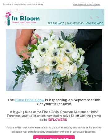 Recieve $1 off your ticket to the Plano Bridal Show!