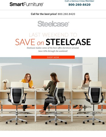 Alert: Last Weekend For Steelcase Sale!