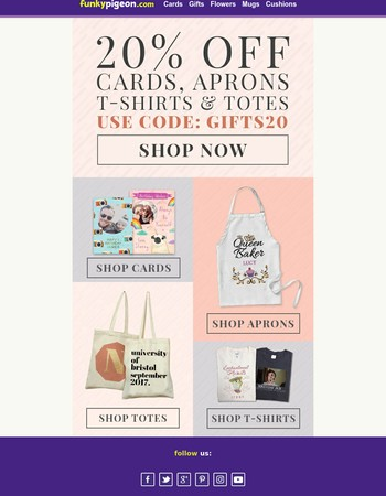 20% off Cards & Selected Personalised Gifts