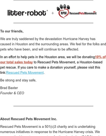 Help Houston: Litter-Robot is Donating 10% of Today's Sales
