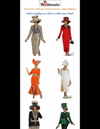 New Fall 2017 Suits and Hats. Order TODAY