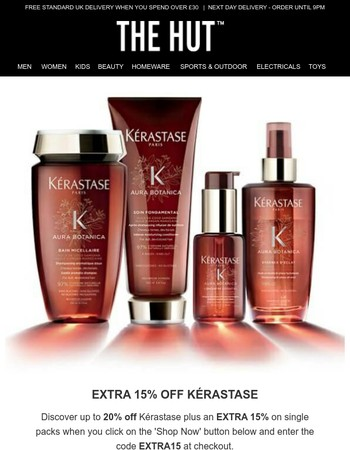 Enjoy an extra 15% off Kérastase | 20% off Under Armour and more...