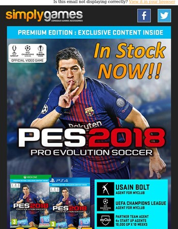 IN STOCK NOW - PES 2018 ONLY £34.85
