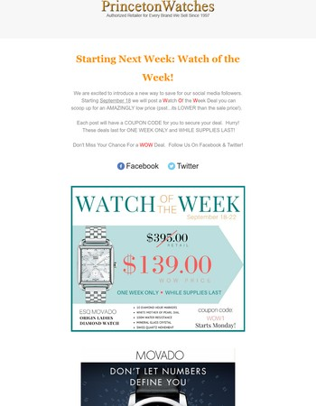 $139 ESQ Movado Watch of the Week Preview- A New Way To Save!
