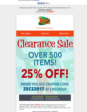 Clearance Event Extra 25% Off With *Coupon Offer at Retro Planet