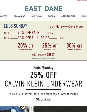 25% off Calvin Klein Underwear + Up to 70% off with code MORE17